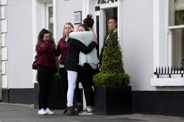 Mourners pictured outside Quinns Funeral Home, Glasthule this afternoon where teenager, Ana Hicks, who died at the weekend after taking a party pill is reposing prior to her funeral tomorrow