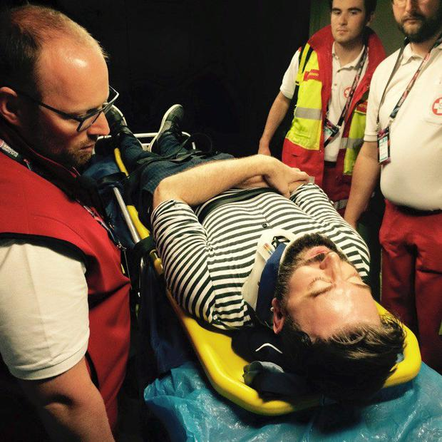 Karl Broderick on stretcher after slip at Eurovision