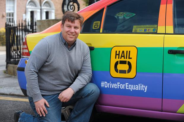 David Knox, Driver Partner of Hailo with taxi in support of Yes for Equality in upcoming referendum. Mount street, Lower, Dublin. Picture: Caroline Quinn