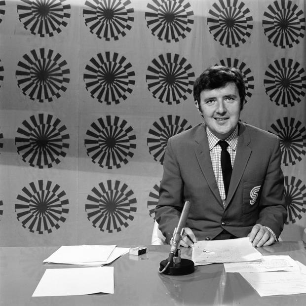 RTE undated handout photo of Bill O'Herlihy presenting 'Munich '72' in 1972