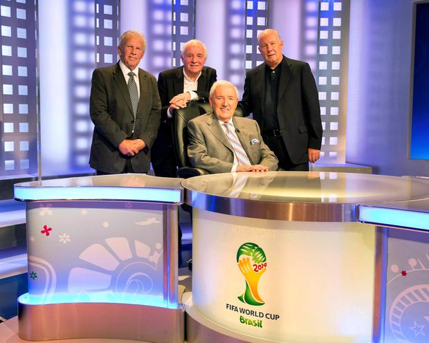 Bill O'Herlihy pictured with John Giles, Eamon Dunphy and Liam Brady ahead of the FIFA 2014 World Cup Final