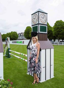 Pippa O Connor and Lt Jennifer Larkin on Tullybawn pictured at the RDS to announce announce Dundrum Town Centres title sponsorship of Ladies Day at the Discover Ireland Dublin Horse Show on Thursday August 6th where the best dressed lady will walk away with a prize package worth 10,000e.