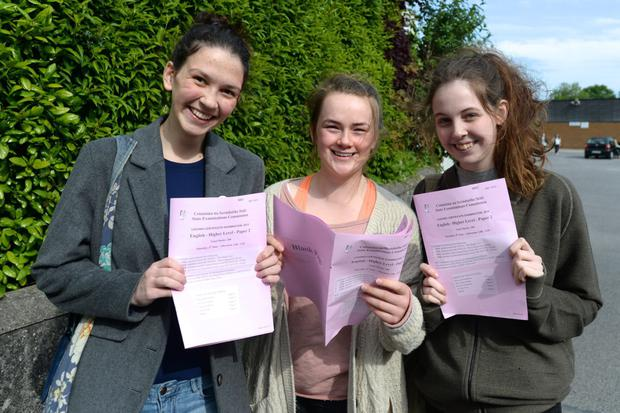 Caoimhe Coburn Grey 18 from North Strand, Saidhbhe Casey 18 Kilbarrick and Maebhe Kelliher 18 Clontarf pictured after their English Leaving Certificate exam at Mount Temple.