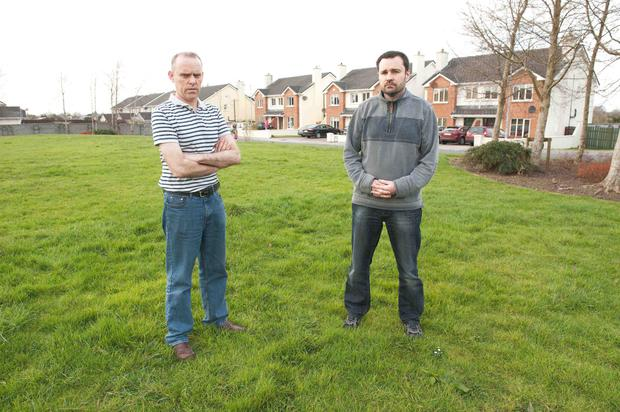 Declan Burke and Martin Zustack from an Dun Ard estate in Craughwell Co Galway with sewage and waste water issues . Photo:Andrew Downes