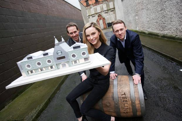 Pictured at the new Teeling Whiskey Company (TWC) whiskey distillery announcement was model Sarah Morrissey with Stephen Teeling, Sales and Marketing Director and Jack Teeling Managing Director of the Teeling Whiskey Company