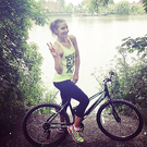 Amanda Byram shows off her new bike