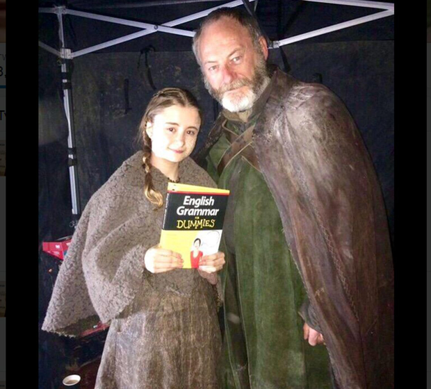 Kerry Ingram and Liam Cunningham on the Game of Thrones set