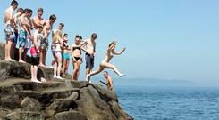 Summer swimming at the Forty Foot