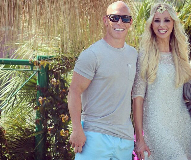 Peter Stringer and wife Debbie O'Leary on honeymoon