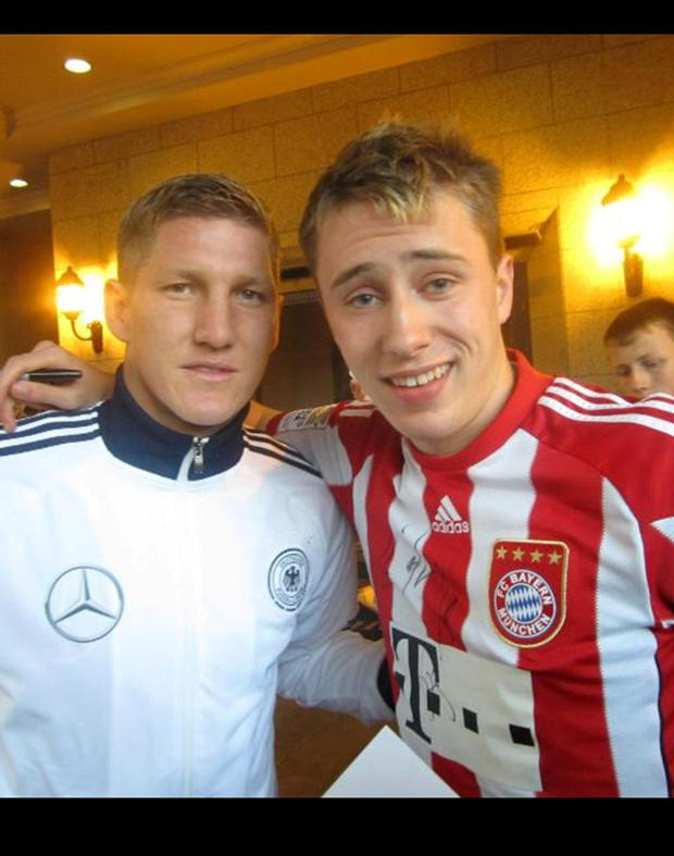 German World Cup star Bastian Schweinsteiger and Niccolai Schuster