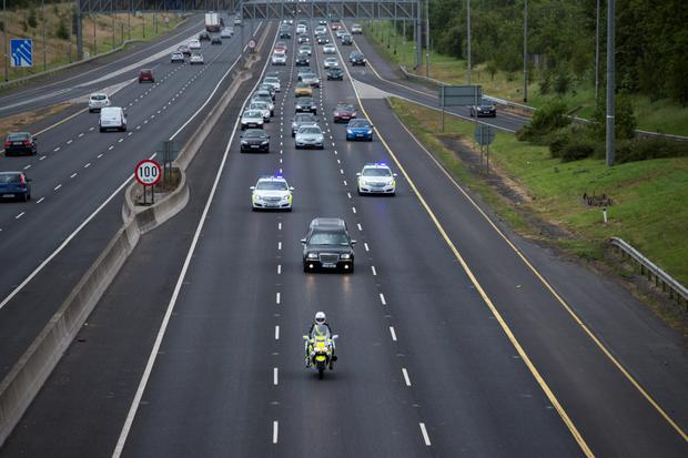 The remains of the young Irish students who lost their lives in the Berkeley tragedy are escorted on the M50 to their homes after landing at Dublin Airport.