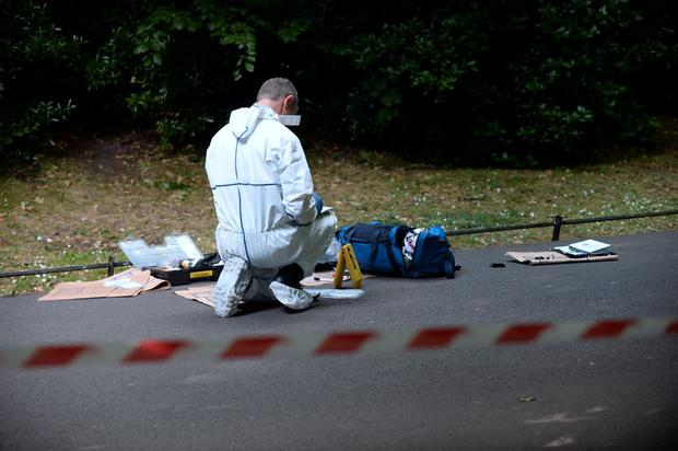 General view of Garda forensics at scene. St. Stephen's Green, Dublin. Picture: Caroline Quinn