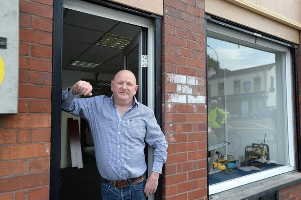 Richie Cullen outside the sex shop in Drumcondra which was due to open today.