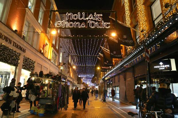 Christmas shopping on Grafton Street in Dublin.