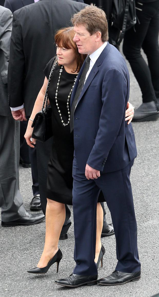 Olivia Burke's mother Paula and father Paul at the funeral of Olivia Burke, one of the victims of the Berkeley balcony tragedy, at the Church of Our Lady of Perpetual Succour in Foxrock in Dublin.