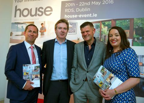 Gareth Buckley, Stephen Rae, Brendan O'Connor and Cliona Carroll of INM at the launch of house 2016, Ireland's new interior design event (by INM) at The Chocolate Factory in Dublin. Picture: Arthur Carron