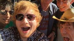 Ed Sheeran selfie with the Rolling Stones