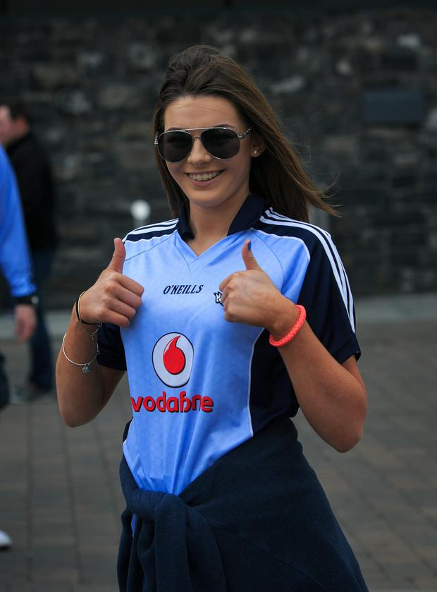 Dublin fans Lucy Maddy from Swords at the Double Header Leinster Semi Finals between Dublin V Kildare & Meath V West Meath in Croke Park, Dublin.