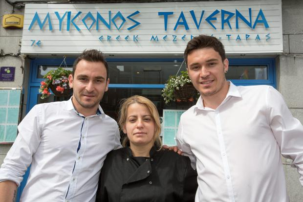 Staff at The Myknos Taverna, Dame St yesterday were; Eric Shore, Manager, Maria Drami, Chef, and Dimitrios Poulimenos, Waiter.