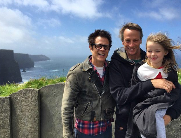 Tony Hawk and Johnny Knoxville at Cliffs of Moher