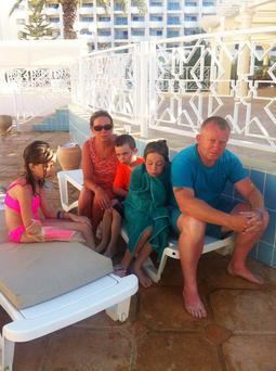 Helen Kennedy and Ollie Mullen with Mia (9), Ryan (7) and Ava (11) in Tunisia