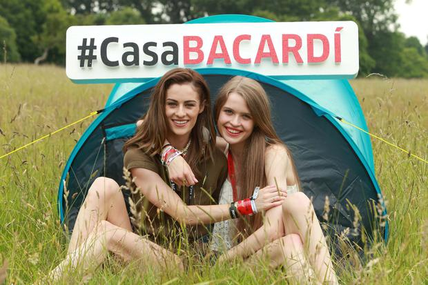 Model pals Madeline Mulqueen and Alicia Kavanagh as they #BandTogether for the launch of the line-up for the award-winning CASA BACARDÍ arena at Electric Picnic