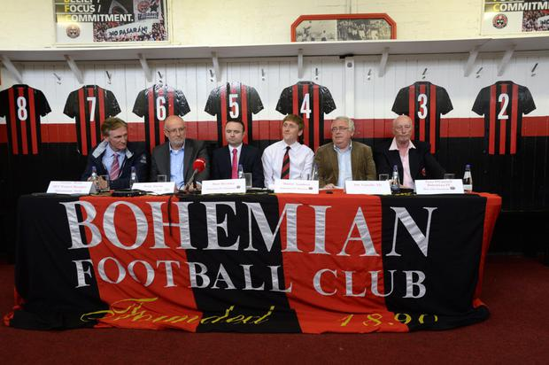 Cormac Healy (Dublin City Council Project Manager for Dalymount Park) Fran Gavin (League Directoe FAI), Matt Devaney (Chairman Bohemians FC), Daniel Lambert (Director Bohemians FC),Joe Costello TD and Tony O'Connell (Bohemians FC Honorary life President At the official announcement of Dublin City Councils purchase of Dalymount Park Dublin.