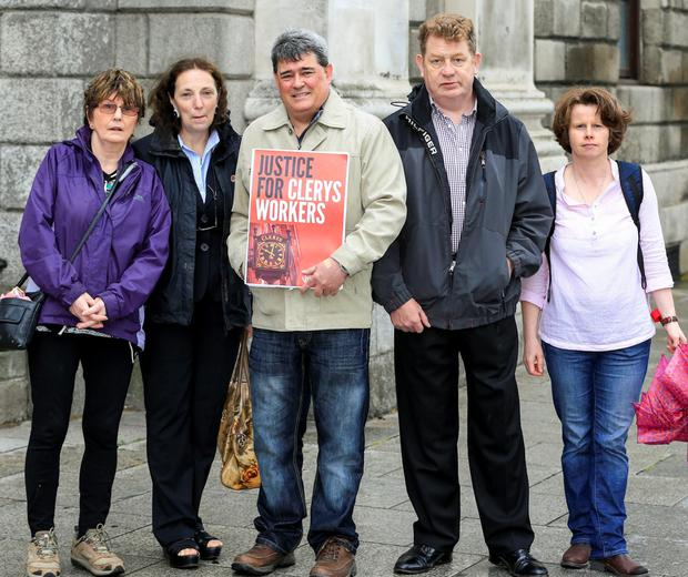 Ex-Clerys employees Margaret O'DEa, Maureen Deans, Gerry Markey, Sean Clifford and Mary Culhane at court