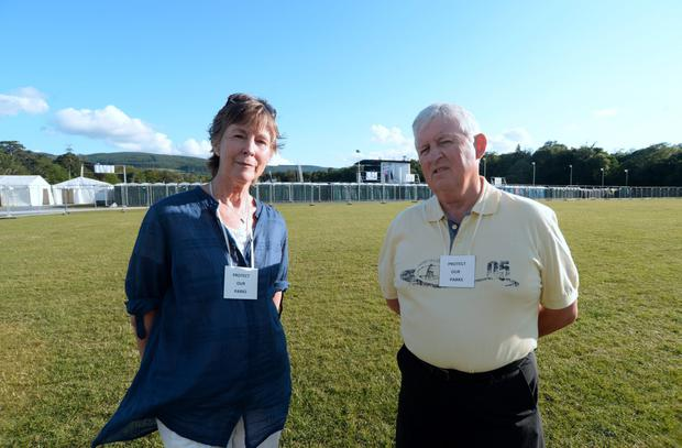 Brian Murphy, Chairman of the South Dublin Protect our Park Committee and Mary Connolly, Vice-chair, with the concert stage in the background. Marlay Park, Dublin. Picture: Caroline Quinn