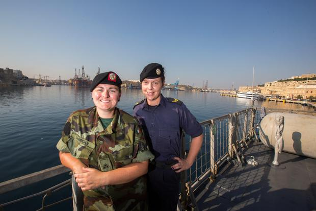 PVT Sonya Larrigan and LS Katie O'Leary on board the LE Eithne after docking in Valetta, Malta