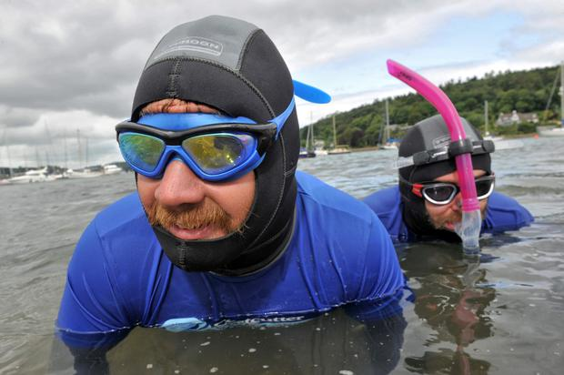 After one month, having swam 300km from Dublin, Irish Adventurers David Burns and Maghnus Collins (snorkel), Costcutter 360 Swim Team pictured arriving into Crosshaven, Co Cork Pic Daragh Mc Sweeney/Provision