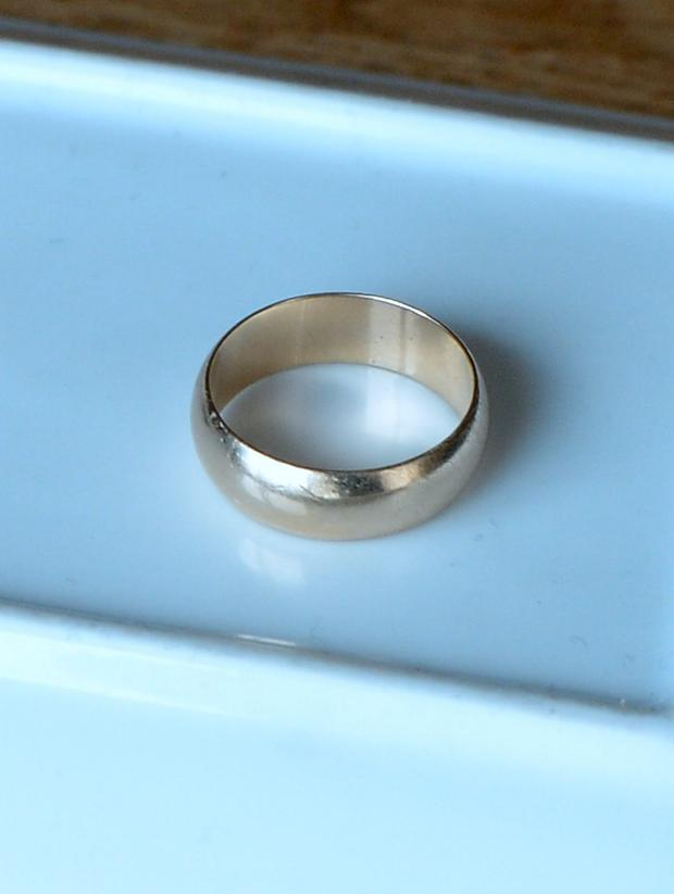 General view men's gold wedding ring that Suzanne D'Arcy found and is appealing to its owner to claim. Dundrum, Dublin.
