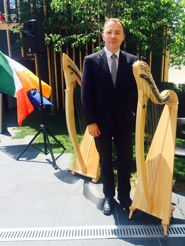 Harpist Cormac de Barra (Ranelagh) at Expo