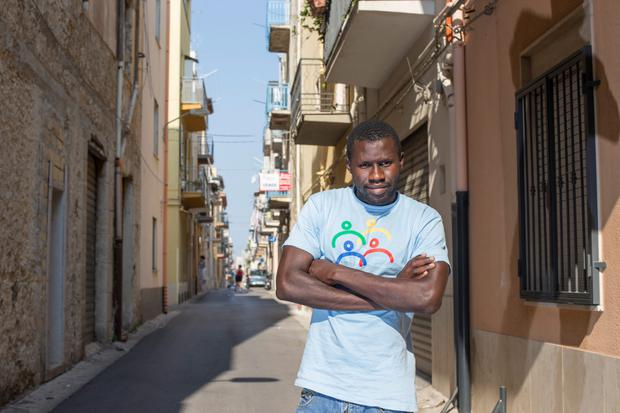 Omar from Senegal who is a migrant at the red cross centre in Alcam, Sicily.