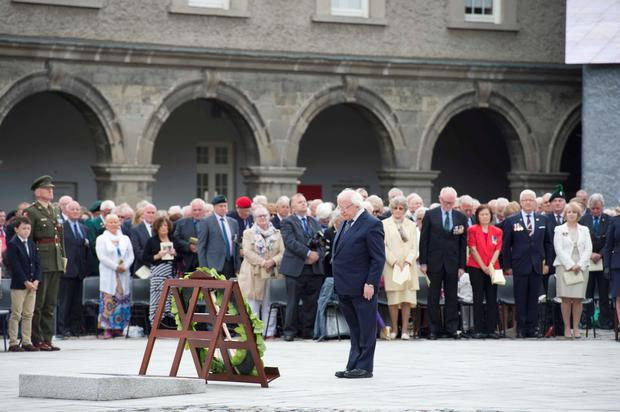 12/07/2015. Pictured President Michael D Higgins lays a wreath on behalf of the Irish people at The National Day of Commemoration held at The Royal Hospital Kilmainham in Dublin