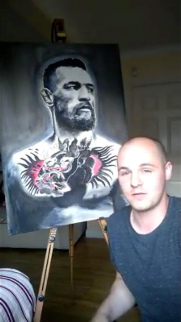 Colin Peelo with his portrait
