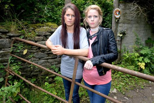 Mandy and Tracy McKeown at the site near Blessington where the body of their Sister Lynnette McKeown was found murdered