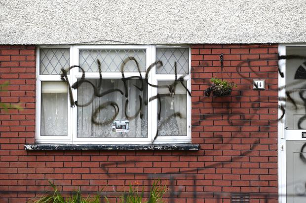 The sickening racist graffiti sprayed on the house