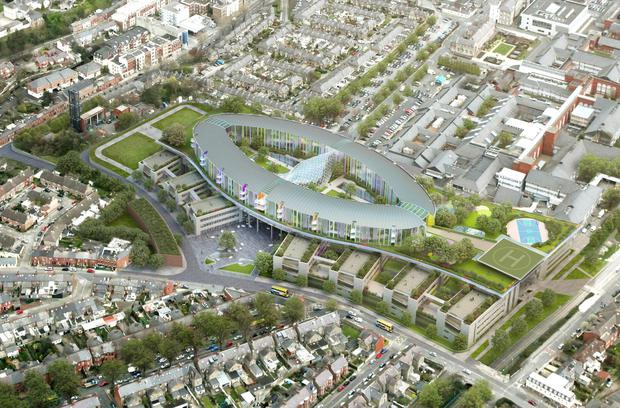 An artist's impression of the new National Children's Hospital to be built besdie St James's Hospital in Dublin