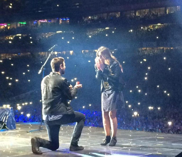 Jay Boland of Kodaline proposing to his girlfriend on stage at the Ed Sheeran concert in Croke Park