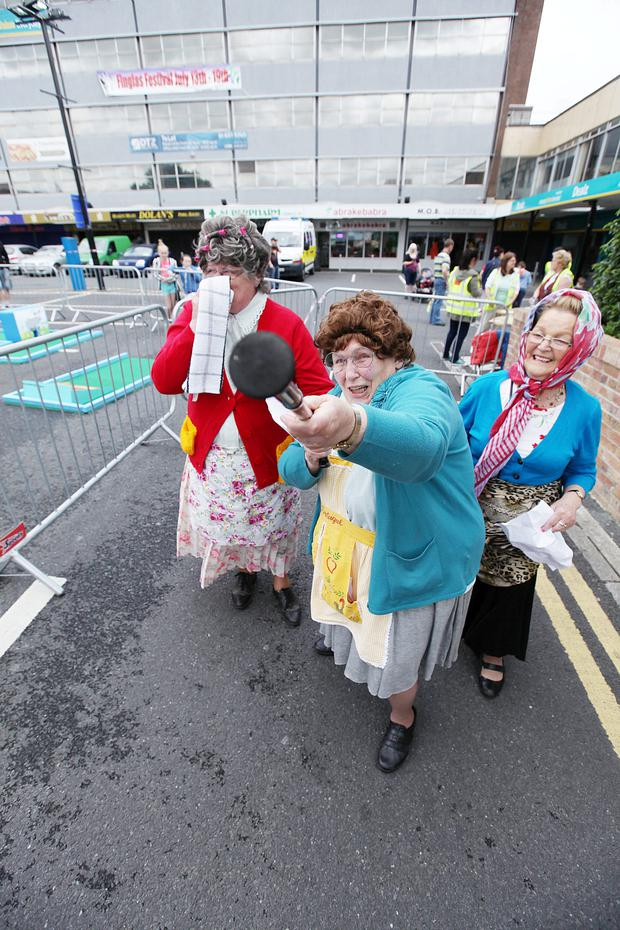 Betty Raffferty, Maureen McCormack and Kay McCovy pictured at Mrs Brown's Boys-themed world record at Finglas Festival