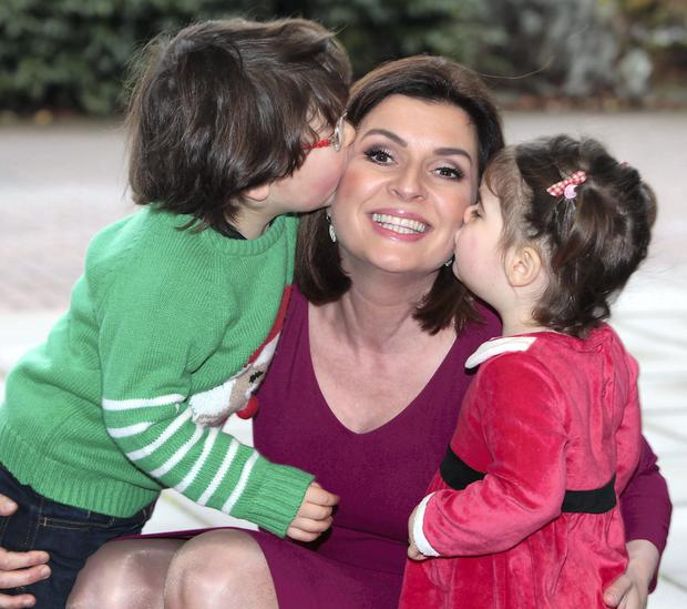 Colette Fitzpatrick accompanied by the two closest people to her heart, her 4- year- old son Milo and 2- year- old daughter Olivia.