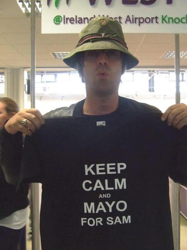 Liam Gallagher shows his support for Mayo