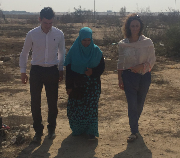 Lawyer Darragh Mackin, Ibrahim's sister Khadija and Sinn Fein MEP Lynn Boylan in Egypt