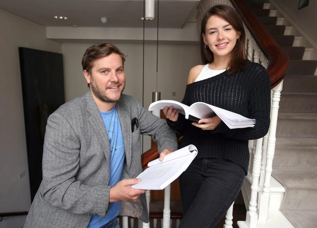 Actors Peter Coonan and Lauren Coe, at the first read through of Arthur Miller's A View from the Bridge at The Gate Theatre. Damien Eagers