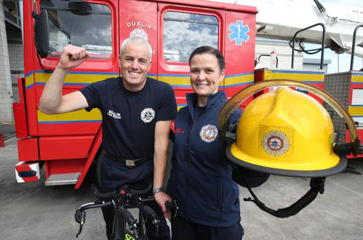 Brian Doyle, Fireofficer Dun Laoighaire Station and Liz Hanley, Fireofficer, Dolphins Barn who are taking part in the IRONMAN 70.3® Dublin triathlon this sunday