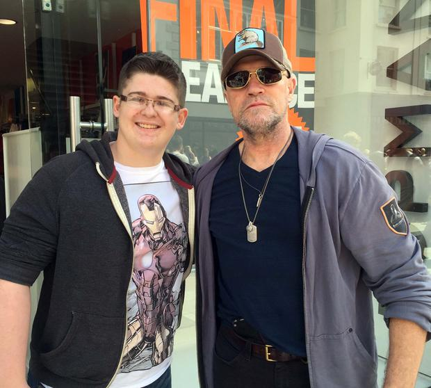 Michael Rooker and fan Evan Dardis