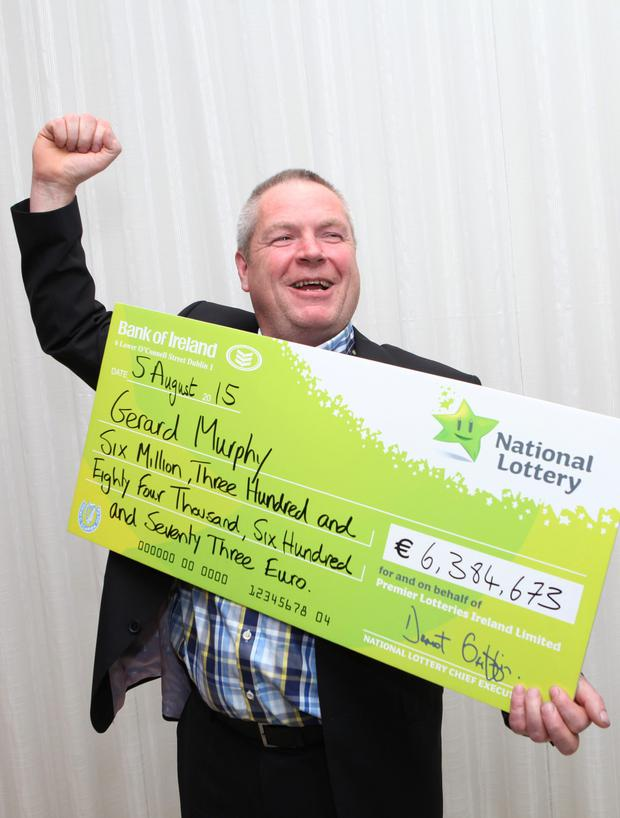 There were great celebrations at National Lottery offices today as Ger Murphy (52) from Ballinrobe, Co. Mayo, Ireland's largest Lotto jackpot winner collected a cheque for €6,384,673