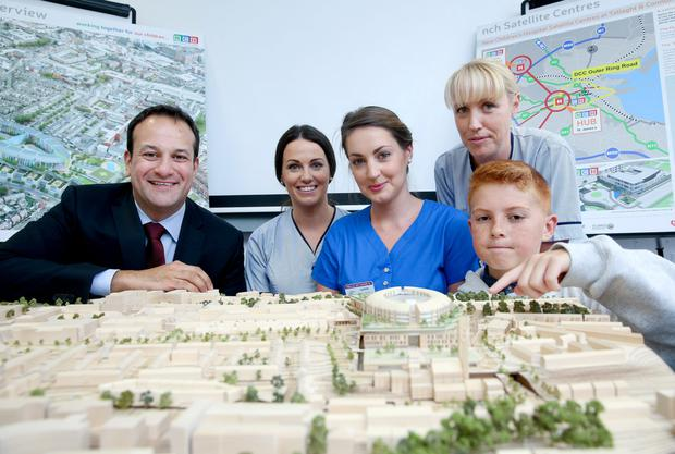 With a model of the new hospital were (from left to right) Health Minister Leo Varadkar; Aoife Dillon, Temple Street Children's Hospital; Caoimhe Wade, Children's Heart Centre; Amanda McCormack, National Children's Hospital Tallaght; and Darragh Barry (12) from the National Youth Advisory Committee