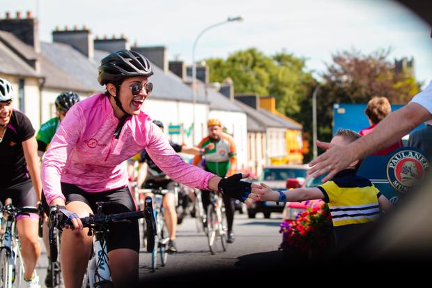 Rose of Tralee Maria Walsh cycling towards the final day of her charity Trek2Tralee cycle/run.